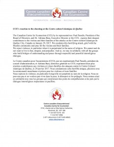 CCE reaction to the shooting at the Centre Culturel Islamique de Quebec